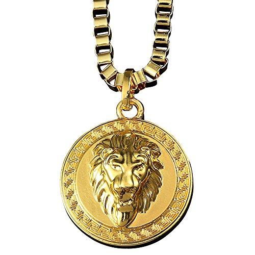 NYUK Schmuck 18K Vergoldet Lionhead Anhänger Halskette für Herren Damen,80cm Kette,Gold