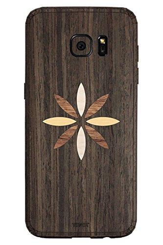 TOAST Skin für Samsung Galaxy S7 Edge (Echtholz), Einzelhandelsverpackung, Ebony with Flower Inlay Kit -