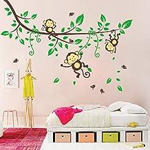 Pegatina de pared extraible e impermeable - Mono lindo y árbol - Material: PVC - Decoración habitación bebé/niños
