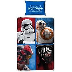 Disney Star Wars–Juego de Cama de 4Personajes, poliéster, Multicolor, 140x 200