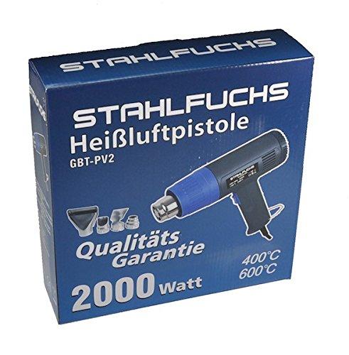 Heißluftgebläse Heißluftpistole 2000W 2 Stufen 400° und 600° C Heißluftfön Heißluft Fön Pistole Gebläse von STAHLFUCHS
