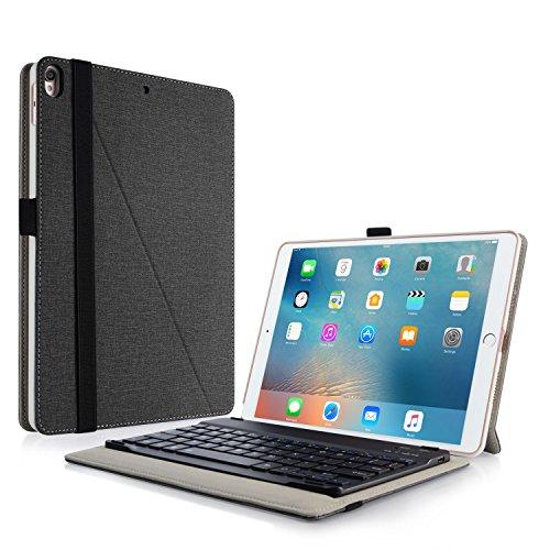 Infiland iPad Air 2019/iPad Pro 10,5 2017 Tastatur Hülle mit Apple Pencil Halter, Ultradünn leicht Ständer Schutzhülle mit magnetisch abnehmbar Tastatur(QWERTZ Tastatur,Schwarz) (Tastatur Und Schutzhülle Für Ipad Air)