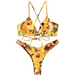 ZAFUL Damen Bikini-Set Geblumtes Bikini Set mit Schnürung Push Up Gepolsterte Bademode Bikinis Swimwear Swimsuit Gelb Small