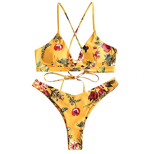 ZAFUL Damen Bikini-Set Geblumtes Bikini Set mit Schnürung Push Up Gepolsterte Bademode Bikinis Swimwear Swimsuit Gelb Small