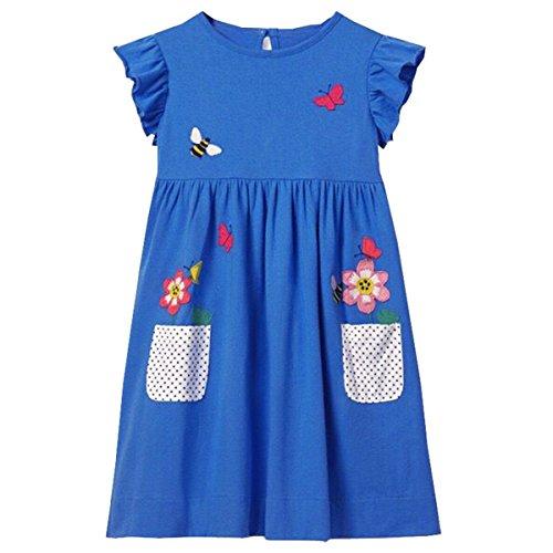 VIKITA Mädchen Kleider Sommer Baumwolle Kinder Kleid Gr.86-128 SMK005BLUE 4T 4t Kleid
