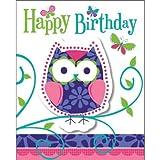 16-teiliges Einladungskarten-Set * TRENDY EULEN * mit 3D-Effekt // mit 8 Einladungen und 8 Umschlägen // Kinder Kindergeburtstag Geburtstag Owl Eule Motto Party Invitations with Attachment