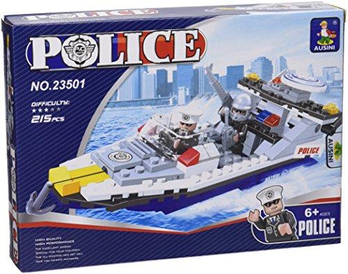 Ausini - Juego de construcción Lancha de policía - 215 piezas (ColorBaby 42231)