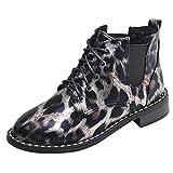 Leopard-Druck Warm Retro Leder Stiefel, Quaan Mode Knie Leder Winter Stiefel Schnalle Strecken Pailletten Spitze Wildleder- Gerade Schuhe