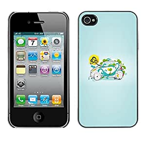 Omega Covers - Snap on Hard Back Case Cover Shell FOR Apple iPhone 4 / 4S - Smart Small Green Nature