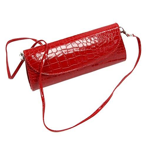 TOOGOO(R) Le nuove donne del sacchetto del cross-body della spalla della catena del raccoglitore di modo frizionano il raccoglitore-bianco Rosso