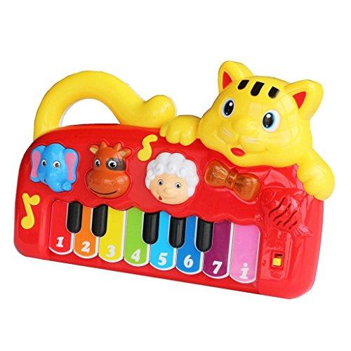 YIXIN Gatto Multifunzionale Pianoforte con Musica e Luce Prima Educazione Giocattolo per Bambini dai 3 Anni in su (Il Colore Può Variare)