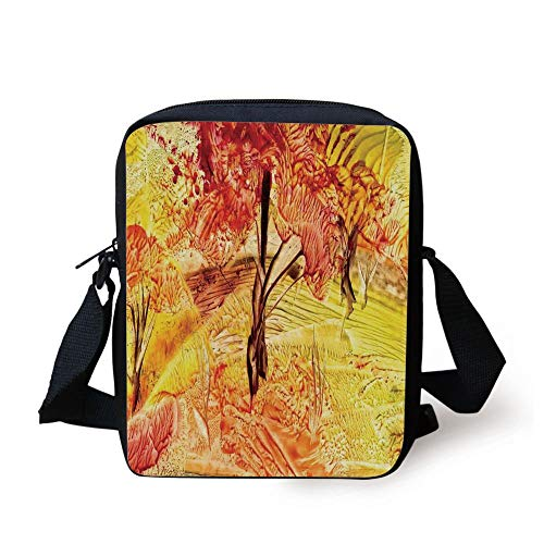 Watercolor Flower House Decor,Idyllic Field with Autumn Tree in Fades Rural Countryside Paint,Orange Print Kids Crossbody Messenger Bag Purse (Ball Paint Guns Pink)