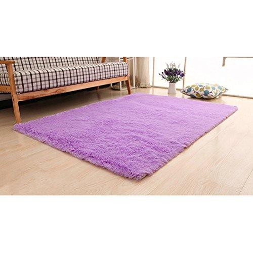 Oulii super morbido moderno shag tappeto vivente camera da letto area irsuta morbido tappeto tappeto camera da letto per bambini play solid casa decoratore pavimento tappeto (viola)