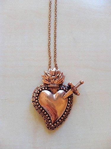 Regalo di san valentino coppia amore fidanzamento innamorati collana ex voto cuore sacro religioso sicilia barocca elegante ottone rosa rame milagros messicano