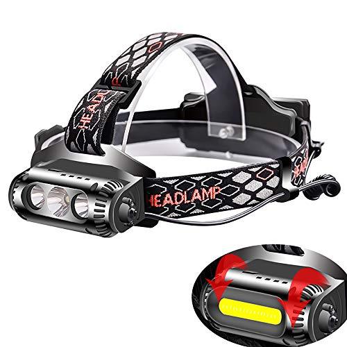SSeir LED Mode Double Les phares, Projecteur USB Rechargeable Convient pour Le Camping, Vélo de Montagne, pêche, Courir, Camping, à Pied