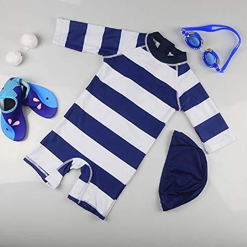 DOOUYTERT Klassisch 2 Teile/Satz Kinder Kurze Einteilige Badeanzüge Kinder Streifen Muster Sonnenschutz Neoprenanzug für Wassersport (Navy) (Farbe : Navy, Größe : M)