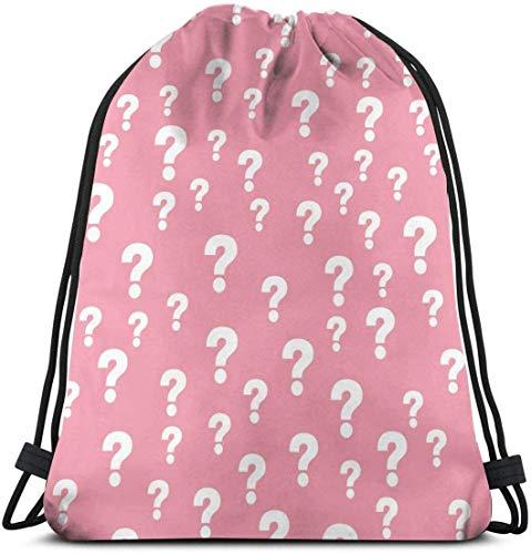 NA Pink Question Mark Customized Classic Tragbarer Rucksack mit Kordelzug, 35,8 x 39,9 cm, für Fitnessstudio, Schule