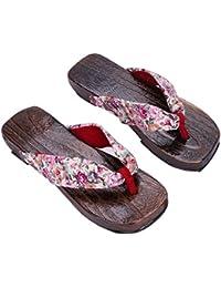 ITODA Tongs Sabots Femme Pantoufles Plage Été imprimé Floral Chaussures  Bois Piscine Antidérapantes Sandales Bohemia Plate 39cde8b7afe6