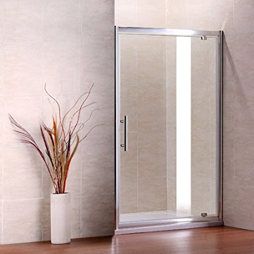 AICA 800 mm Width Pivot Shower Door, Glass, Chrome Profile/Clear