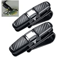 2 Pack Car Auto Sun Visor Clip Holder Carbon Gafas de sol Holder Clip Glasses Jaula de almacenamiento Universal Car Auto Accesorio
