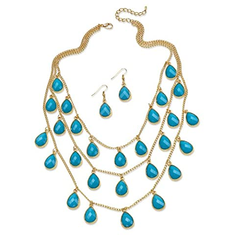 2 Piece Aqua Teardrop Checkerboard-Cut Cabochon Jewelry Set in Yellow
