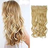 "S-noilite® 24"" (60 cm) extensiones de cabello Una pieza 3/4 cabeza completa Rizado ondulado ombre pedazo de cabello - Mezcla de oro blanqueador rubio"