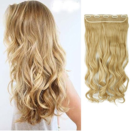 s-noiliter-uk-women-24-inches-60cm-golden-mix-bleach-blonde-one-piece-long-curly-wavy-3-4-full-head-