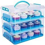 HBlife 3 Tiers Cake Carriers Kuchenbehälter mit Decke bequemem Tragegriff Kuchenbox Tortenbutler Verstellbarer Verschluss und Stapel Cupcake Holder Container (blau)