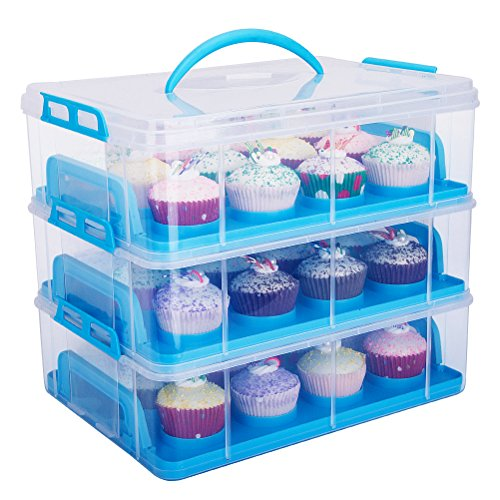 HBlife 3 stöckig Cake Carriers Kuchenbehälter mit Decke bequemem Tragegriff Kuchenbox Tortenbutler Verstellbarer Verschluss und Stapel Cupcake Holder Container (blau)