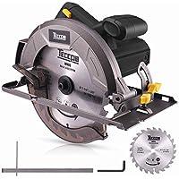 Sierra Circular, TECCPO Profesional 1200W Sierra Circular Eléctrica 5800 RPM, con Hoja de 185 mm 24 Dientes, Profundidad de Corte 63 mm (90°), 45 mm (45°), Guía de Metal, Motor de Cobre Puro -TACS22P
