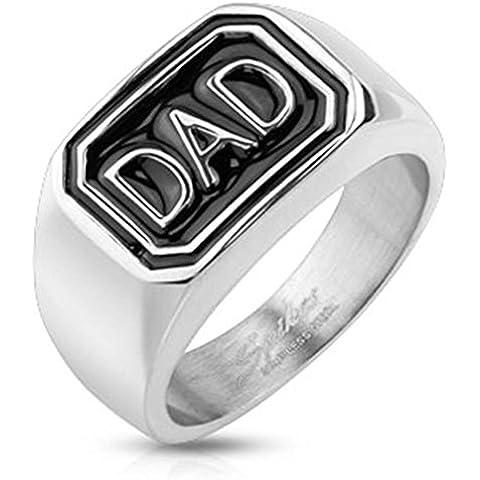 Paula & Fritz anello in acciaio INOX chirurgico 316L argento 12 mm larghezza diamanti DAD (Kingdom Hearts Corona)