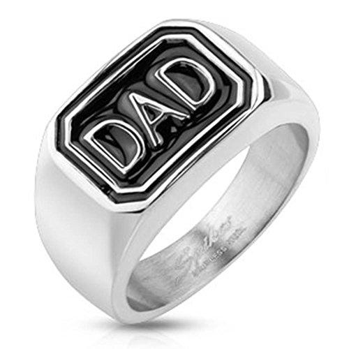 Paula & Fritz anello in acciaio INOX chirurgico 316L argento 12 mm larghezza diamanti DAD disponibili misure 60 (19) Anello 69 (22) R-S1558, Acciaio inossidabile, 21, colore: Argento, cod. R-S1558_100
