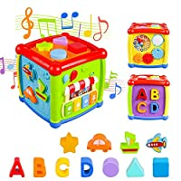 AiTuiTui Baby Activity Cube Travel Play, Multi-function 6 in 1 Activity Center Shape Sorter Early Educational Learning Box Music Toys for Toddlers Kids Child Boys Girls Present
