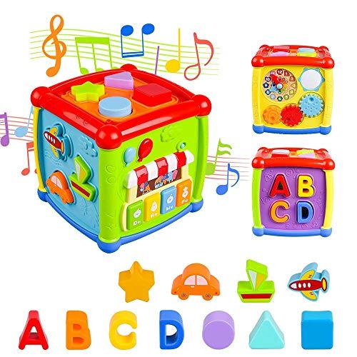 AiTuiTui Cube d'Activités pour Bébé, Centre d'activités Multifonctions 6 en 1 Préscolaire Boîte d'apprentissage sur l'éducation précoce Musique Jouets pour Bébé Enfants Cadeau de Noël