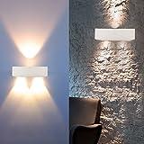 Auralum® Moderne 3W Warmweiß Aluminium LED Wandleuchte Wandspots Energiesparlampe Licht Lampe Innen 300 Lumen (Weiß)