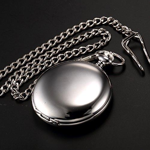 AMPM24 Montre à Gousset Poche Quartz Chaine Elegant Poli Apparence Argente Cadeau WPK027