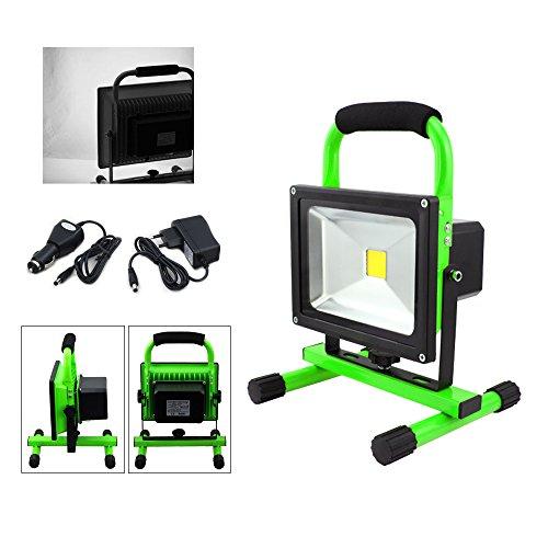 VINGO® 20W LED Strahler IP65 Grün Arbeitsleuchte Baustrahler Akku Fluter Handlampe Kaltweiß