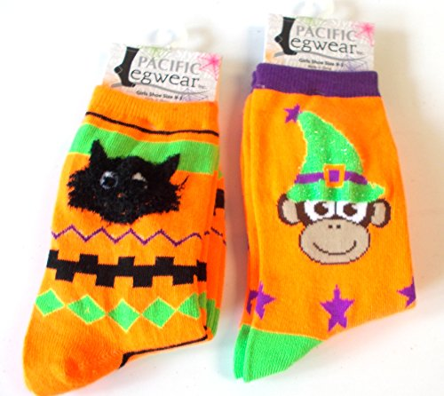 halloween-socks-black-cat-monkey-witch-orange-girls-9-3-nwt