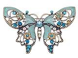 Alilang Damen Vintag Antiker Stil Grün Blume Strass Schmetterling emailliert Brosche