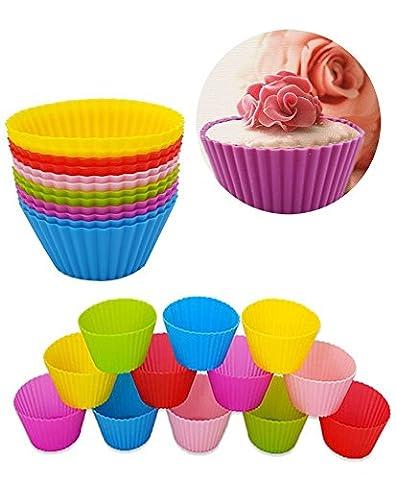 DIKETE® 12 x Hochwertig Silikon Muffinformen Backform Cupcake Förmchen Muffinförmchen Muffin-form Backförmchen wiederverwendbare,umweltschonend - 6 Farbe
