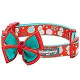 Blueberry Pet Weihnachtszeit Halsbänder 1,5cm S Momente der Freude Schneemann Spaß Designer Hundehalsband mit Abnehmbarer Fliege