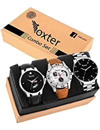 Foxter Three Metalic and Lether Super Quality Day and Date Functional Watches for Men and Boys