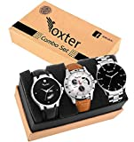 #10: Foxter Three Metalic and Lether Super Quality Day and Date Functional Watches for Men and Boys