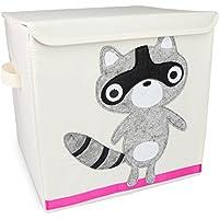 Grinscard Spielzeugkiste Raccoon mit Deckel - Beige ca. 35 x 33 x 33 cm - Toy Box Spielzeug Lagerung & Transport preisvergleich bei kinderzimmerdekopreise.eu