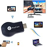 #1: Rewy WiFi Hdmi Dongle Wireless Display for iPhone Ipad Windows Pc Android,Tablets to Tv Selector Box Airplay WiFi Display Miracast - Black