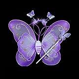 Grifri Mädchen Kid Schmetterling Flügel Zauberstab Stirnband Fee Cosplay Partei Fancy Kostüm 3 Teile/satz (lila)