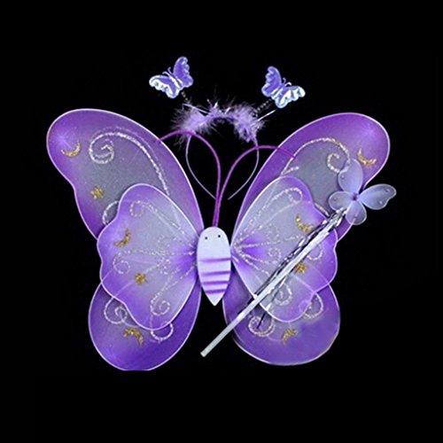 (Grifri Mädchen Kid Schmetterling Flügel Zauberstab Stirnband Fee Cosplay Partei Fancy Kostüm 3 Teile/satz (lila))