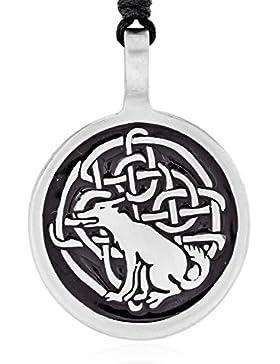 Llords Schmuck   Halskette mit keltischem Fuchs Anhänger in irischem Knoten Design + Versilberter Verschluss,...