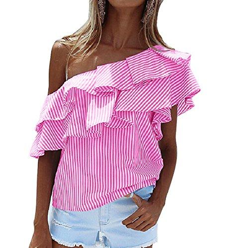 DINGANG® Sommer Damen OffSchulter Unregelmäßig Streifen Volant Kurzarm  Bluse TShirt Oberteile Rosa