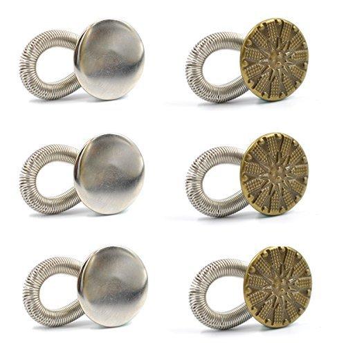 eZAKKA 6Pcs 20mm No Sew Elastic Spring Brass Metal Button Pant Extenders Jeans Collar Button Pant Extender for Men Women Maternity Pregnancy